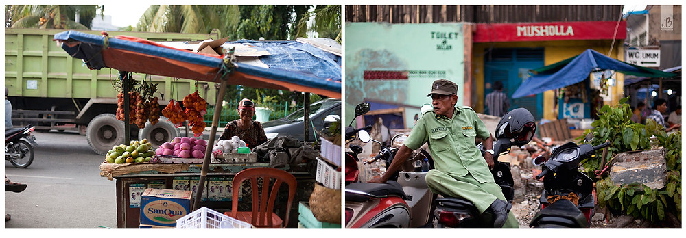 Jakarta, Indonesien, Marktstand, Moped