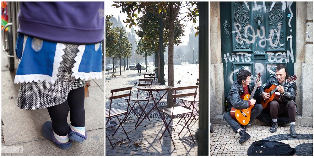 Füße, Tisch und Stühle, Tür, Punks, Gitarre, Straßenmusiker, Oma