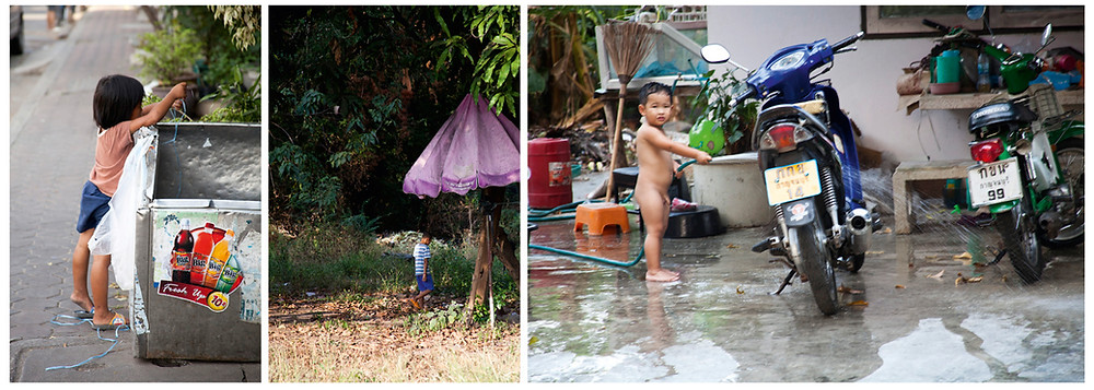 Kinder in Thailand, kleines Mädchen, kleiner Junge, Moped waschen