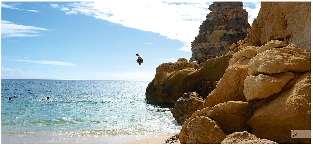 Algarve Sprung ins Wasser Meer