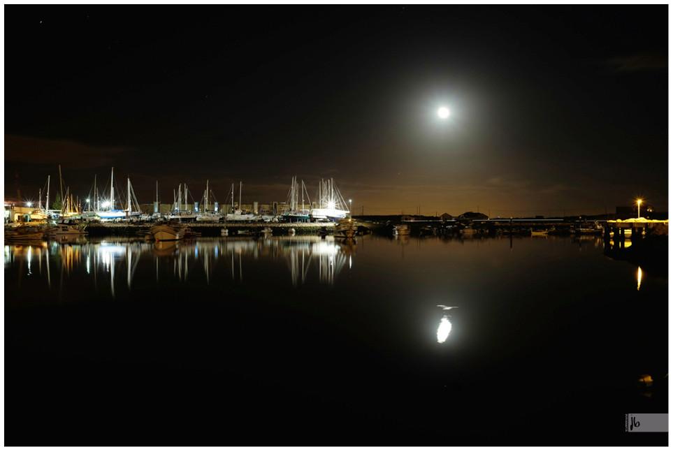 Hafen bei Nacht Vollmond
