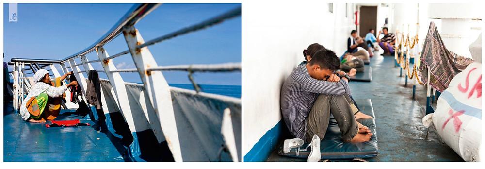 Schiffsdeck, Wäsche aufhängen, schlafen, Java Sea, Indonesien