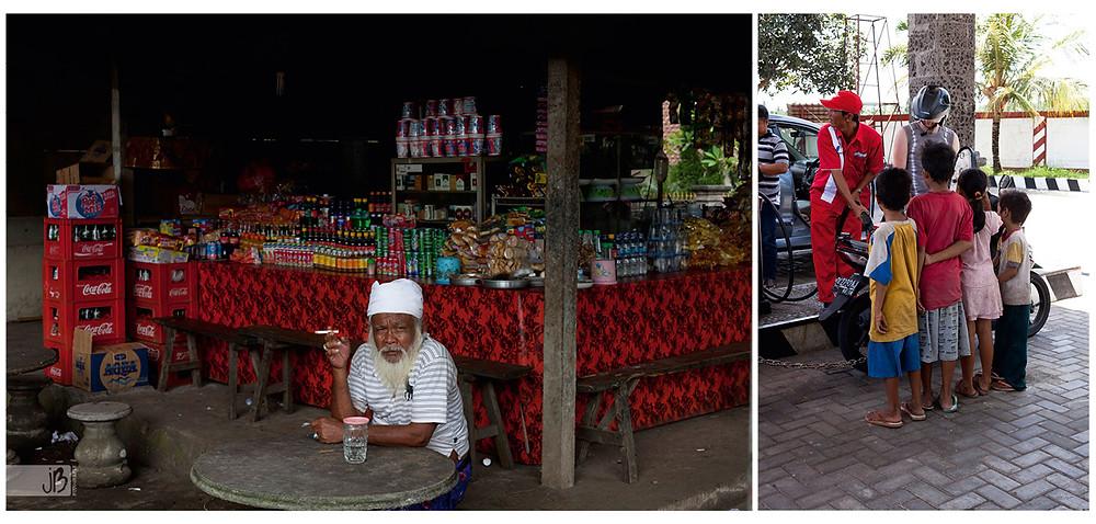 Bali Moslems, Tankstelle, Kinder in einer Reihe