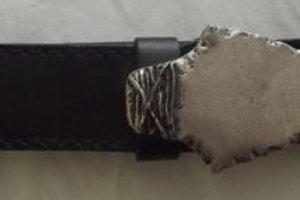 Strele Leather Belt with Flint Arrowhead Shaped Buckle