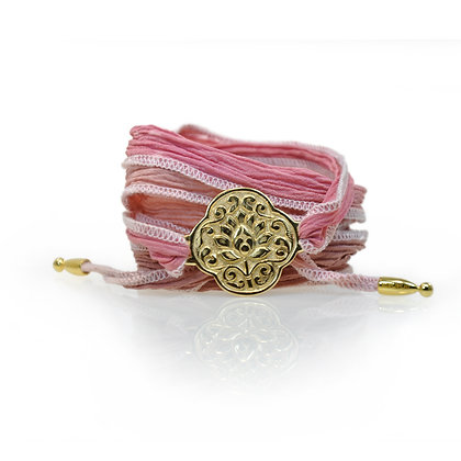 Wickelarmband Seide Lotus Gold