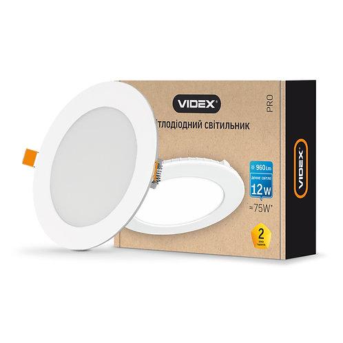 LED светильник встраиваемый круглый VIDEX 12W 5000K 220V