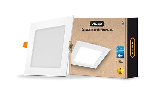 LED светильник встраиваемый квадрат VIDEX 9W 5000K 220V