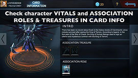 Check character VITALS and ASSOCIATION R