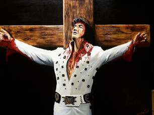 Why paint Elvis being crucified?