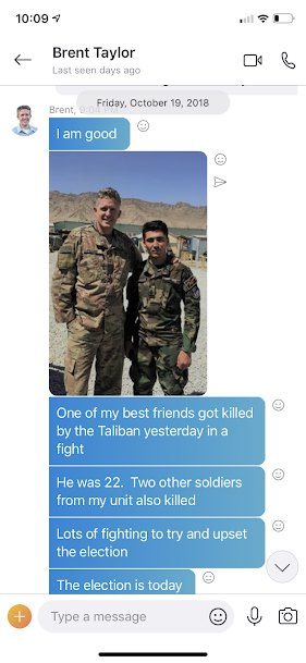 Brent and his Afghan friend who was killed the elections began.