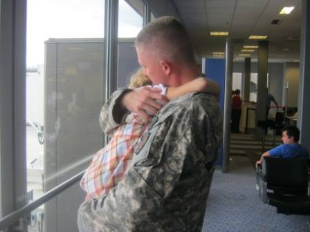 Brent and 6-year-old Megan on the day he left for Afghanistan the first time - October 2011