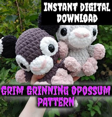 Grim Grinning Opossum Pattern (Digital Item/Instant Download)