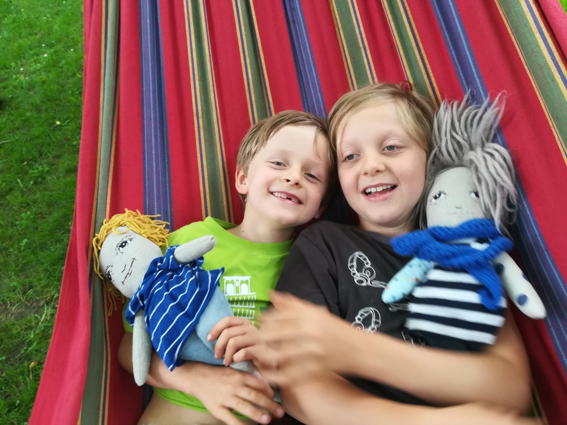 Maty and Vojta in their hammock