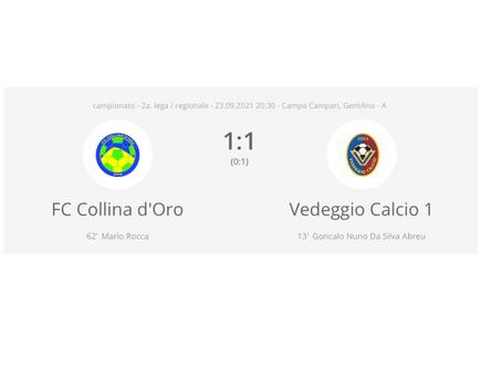 FC Collina d'Oro - Vedeggio Calcio 1:1