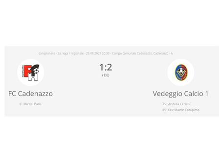 FC Cadenazzo - Vedeggio Calcio 1:2