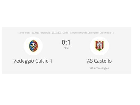 Vedeggio Calcio - AS Castello 0:1