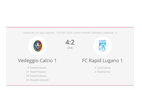 Vedeggio Calcio - FC Rapid Lugano  4:2