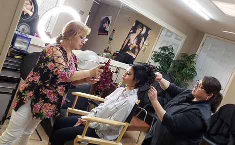 fixing hair and makeup