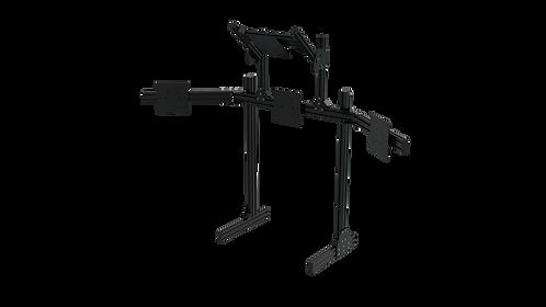 Black Aluminium Floor Quad Monitor Stand with VESA Mounts