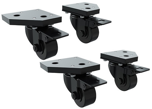 TR8020 Caster Wheels with Brake and Mounting Brackets (Set of 4)