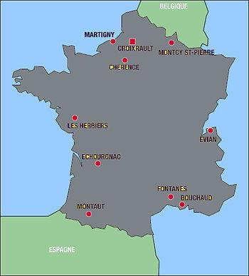 carte de France des prieurés de la congrégation