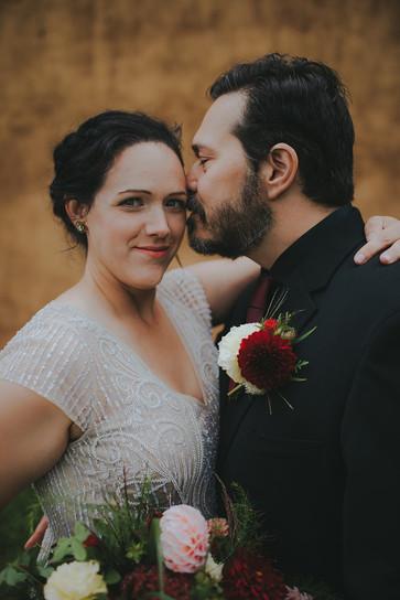 Bride and groom in Stevens Point, WI industrial wedding