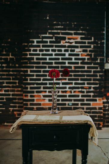 Industrial wedding ceremony in Pfiffner building decore