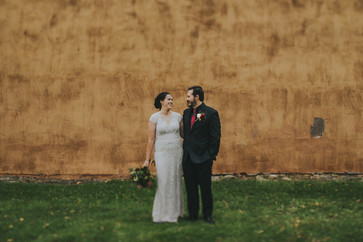 Bride and groom outside Pfiffner building industrial wedding