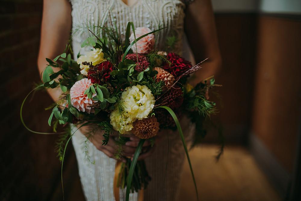 Bridal arrangement by Green Flower Farm