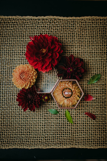 Industrial wedding florals and rings