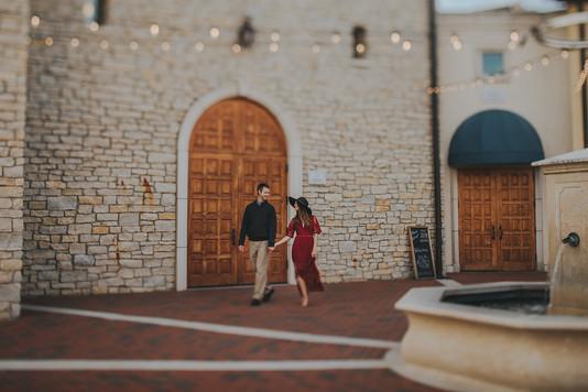 Couple walks together outside the Villa Bellezza.