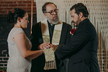 Wedding ceremony in historic Stevens Point, WI