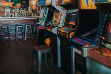 A row of arcade games at I/O Arcade Bar in Madison Wisconsin