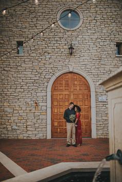Couple celebrates anniversary outside Villa Bellezza.