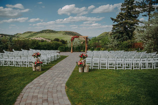 Ceremony space at The Manor House during a southern Colorado foothills wedding.