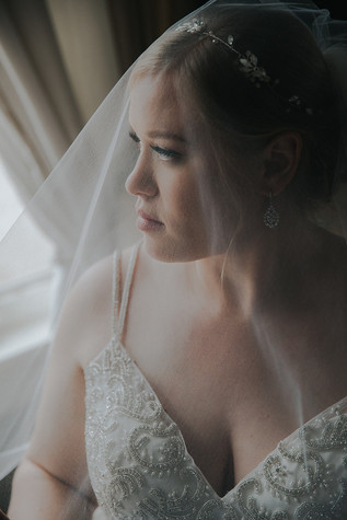 A close up of a bride covered in a veil