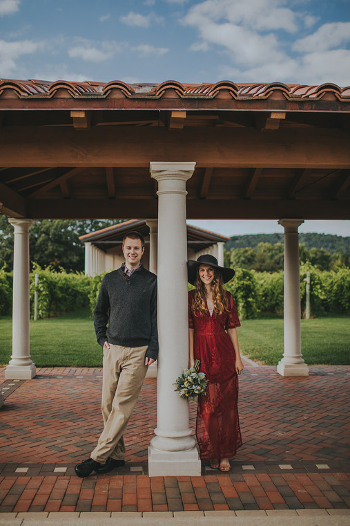 Man and women pose at Villa Bellezza.