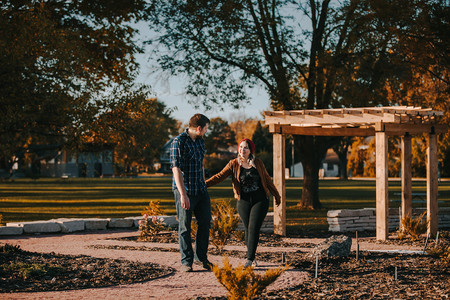 Man and women  laugh together in Pfiffner Park