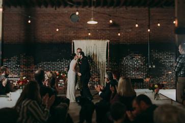 Industrial wedding ceremony in Pfiffner building.