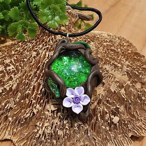 lilac flower fairy fantasy forest crystal necklace pendant elfensiereden elfenhanger kristal bloemen