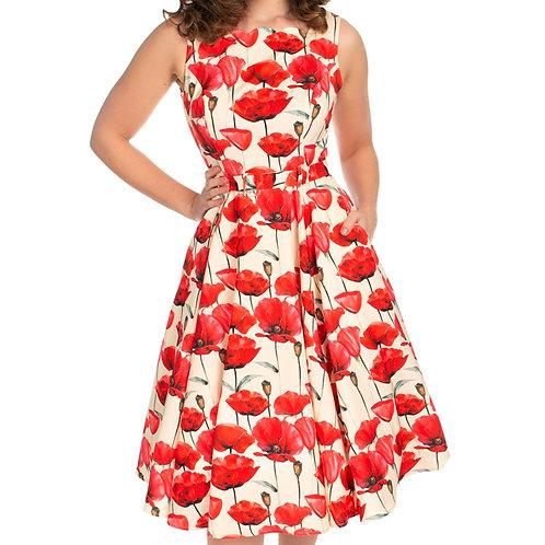 Sweet Poppy dress flower swing  pin up 50's style jaren 50 stijl dansjurk jurk full circle cirkelrok klaproos floral H&R