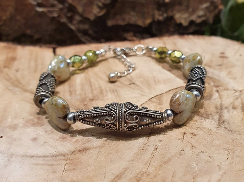 Silver filigree and ceramic beads  bracelet