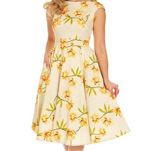 Ebony flower swing dress pin up 50's style jaren 50 stijl dansjurk jurk full circle cirkelrok Evonne H&R