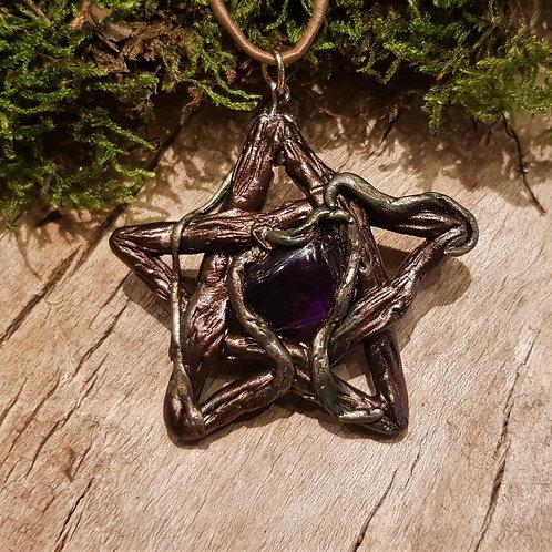 pentagram pendant necklace wood amethyst jewelry hanger hout amethist wicca pagan fantasy