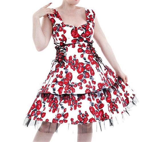 White spanish rose dress jurk met strokenrok rozen zomerjurk katoen