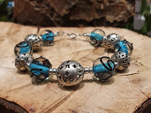 Silver and glass beads  bracelet