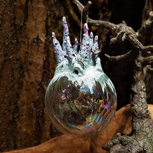 Magical winter frozen snow castle crystal ball world christmas ornament kerstbal kasteel op bol