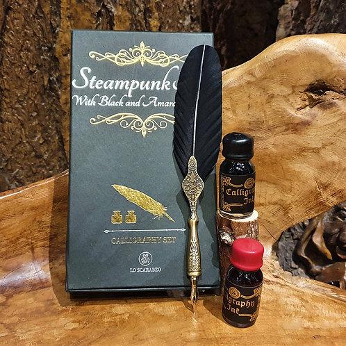 steampunk dip pen ink quill set veren kroontjespen caligrafie inkt ganzenveer
