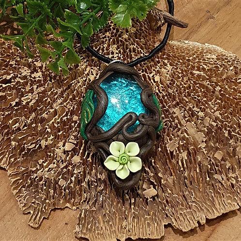 blue flower fairy fantasy forest crystal necklace pendant elfensiereden elfenhanger kristal bloemen