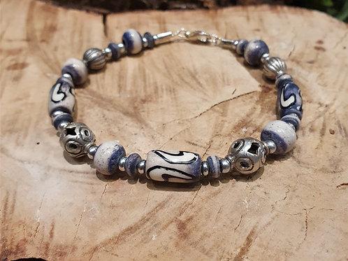Silver and ceramic beads bracelet